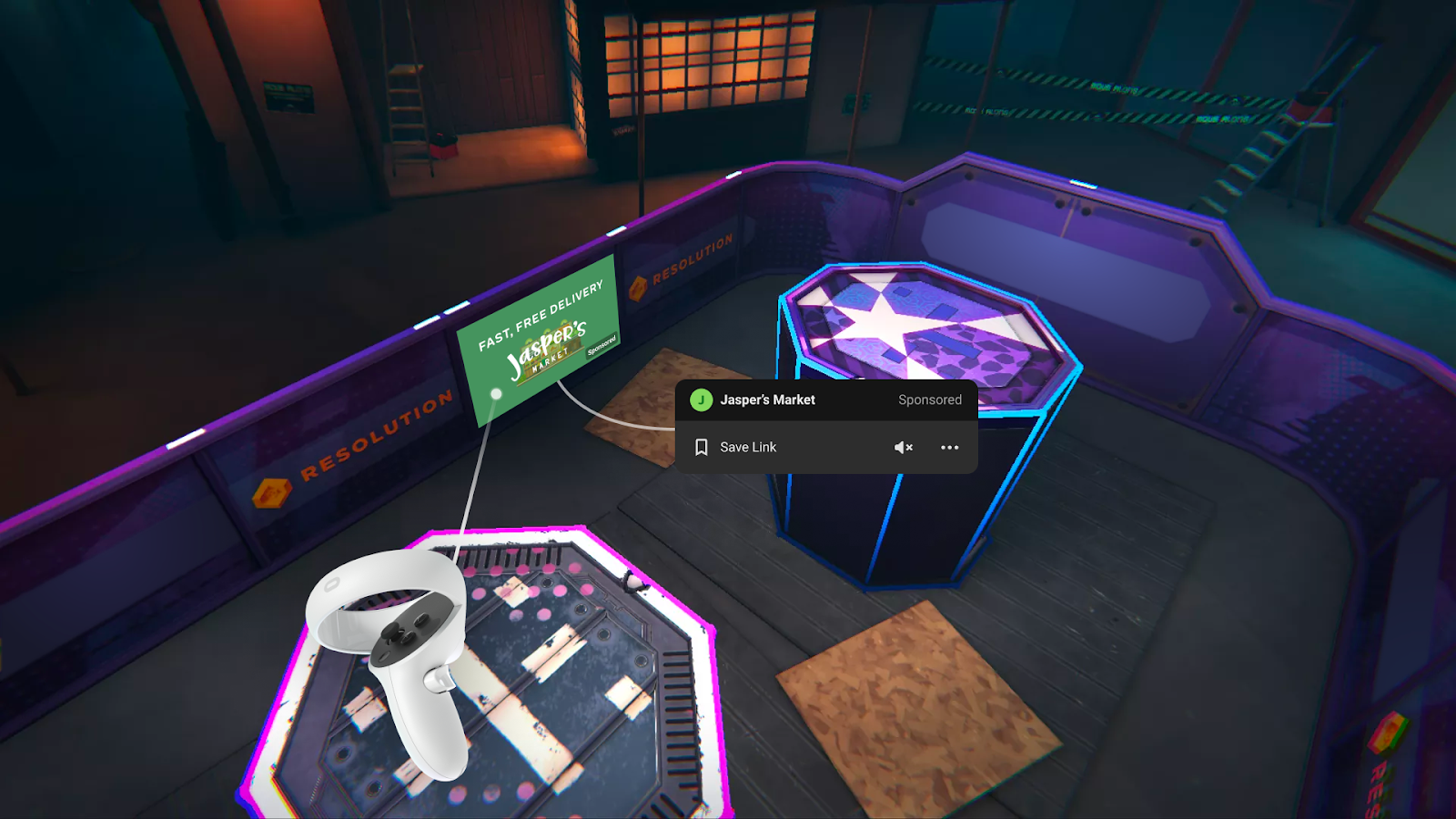 Publicidad implementada en Blaston (Oculus)